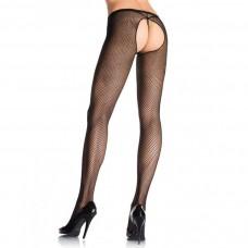 Leg Avenue - Black Sexy Fishnet Crothless Pantyhose - One Size